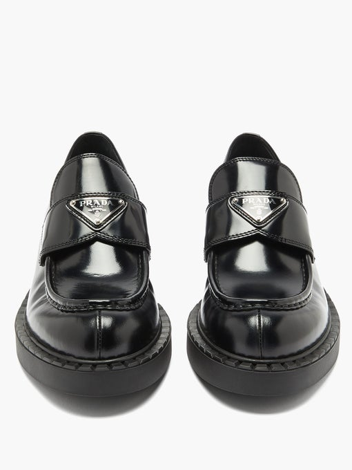 Plaque Chunky Heel Loafers