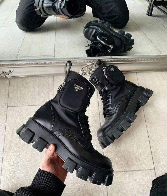 Brushed Rois Leather And Nylon Boots